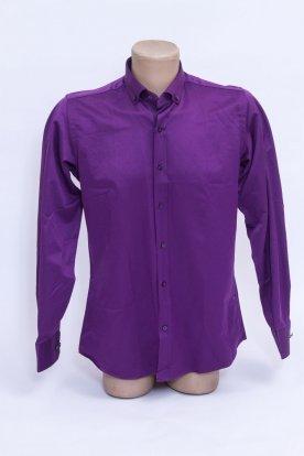 Elegáns stílusos anyagában mintás lila színű hosszú ujjú férfi ing mandzsettával