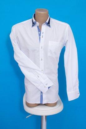 Elegáns fehér hosszú ujjú galléros férfi ing