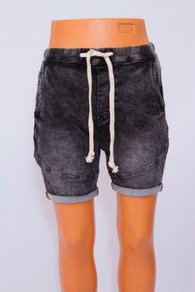 Divatos koptatott derékben megköthető férfi farmer rövidnadrág