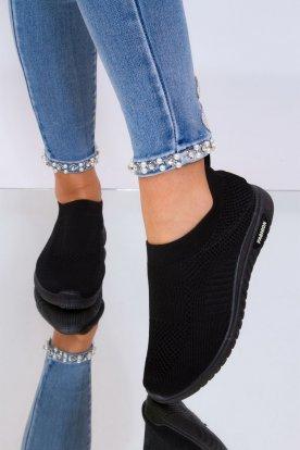 Sportos fekete színű női slip on/zoknicipő