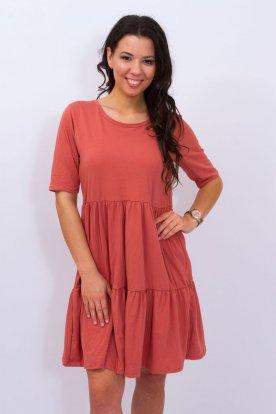 Stílusos rövid ujjú bő szabású egyszínű A vonalú női fodros mini ruha