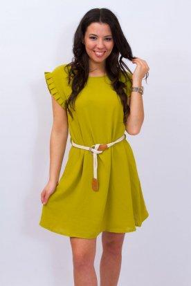 Alkalmi A vonalú fodros ujjú megkötős női mini ruha/tunika