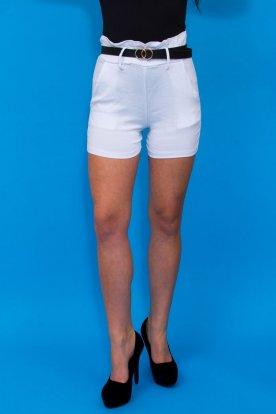 Elegáns fodros és gumis derekú és műbőr öves női sztreccses rövid nadrág
