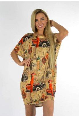YESSTORY divatos egyedi mintával díszített női rövid ujjú tunika/ miniruha