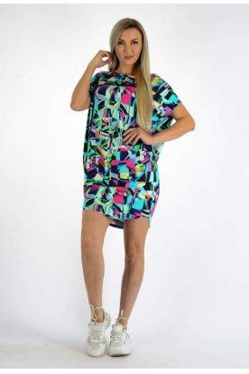 YESSTORY stílusos anyagában mintás színes női rövid ujjú bő szabású tunika/miniruha