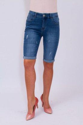 FIONINA JEANS divatos enyhén koptatott sztreccses nagy méretű női farmer térdnadrág
