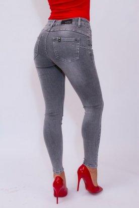 MISS BONBON divatos egyszerű szürke színű női farmernadrág
