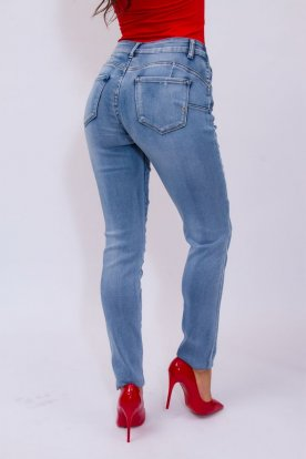 MISS BONBON divatos nagy méretű push up-os világoskék női farmernadrág