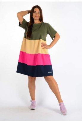 YES STORY plus size divatos női négy színű A vonalú rövid ujjú mini ruha