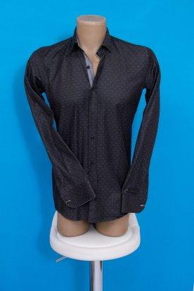 Elegáns slim fit sötétszürke színű hosszú ujjú anyagában pöttyös férfi ing