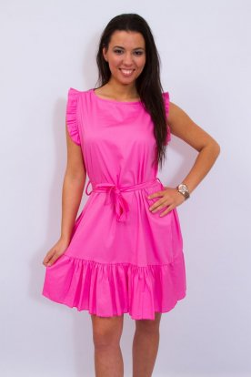Divatos derékban megköthető fodros A vonalú nyári mini ruha
