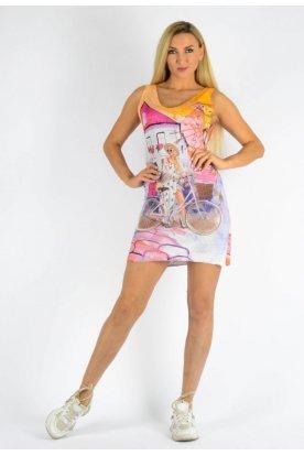 Cérnakötött bicikliző lány mintával díszített női tunika/ujjatlan miniruha