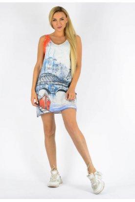 Cérnakötött divatos Eiffel torony mintával díszített női ujjatlan tunika/miniruha