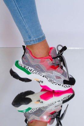 Divatos egyedi mintával díszített színes platformos női sportcipő