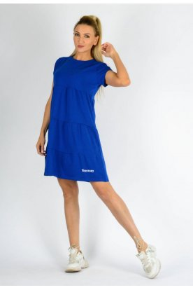 YESSTORY divatos bő szabású egyszínű A vonalú rövid ujjú női miniruha