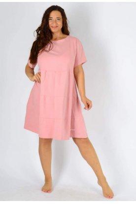 YESSTORY plus size divatos női egyszínű A vonslú rövid ujjú mini ruha