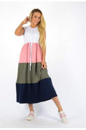 YESSTORY divatos több színű derékban megköthető ujjatlan maxi ruha