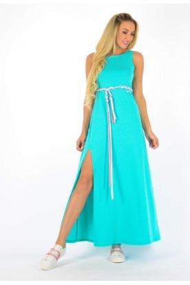 YESSTORY divatos egyszínű derékban megköthető női ujjatlan maxi ruha