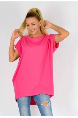 YESSTORY divatos bő szabású egyszínű minta nélküli zsebes rövid ujjú felső