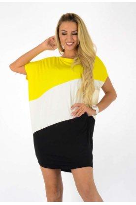 YESSTORY divatos háromszínű bő szabású rövid ujjú női tunika/mini ruha