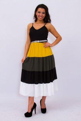 Divatos több színkombinációból álló fonott övvel díszített női nyári spagettipántos maxi ruha