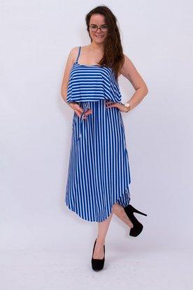 Divatos női csíkos ujjatlan állítható spagetti pántos mellrésznél fodros nyári ruha kerekített aljrésszel