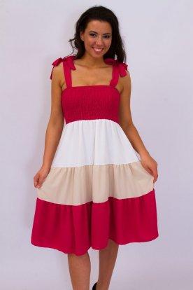 Stílusos pántos vállán masnival díszített mellrésznél gumírozott színes szoknyarésszel díszített A vonalú női nyári ruha