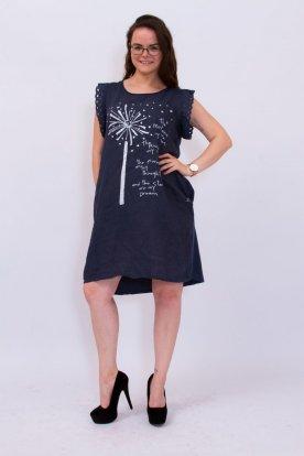Divatos nyomott mintával és felirattal díszített madeira ujjú len-vászon ruha
