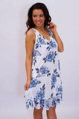Divatos pántos és alján fodros anyagában virágmintával díszített lenvászon női nyári ruha