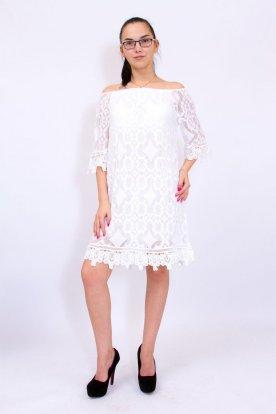 Gyönyörű női fehér színű horgolt és csipkebetétes bő szabású háromnegyed ujjas felső
