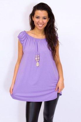 Egyszínű női ujjatlan rendkívül sztreccses gumis váll- és nyakrésszel kialakított ujjatlan felső nyaklánccal