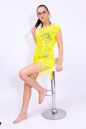 Divatos női kerek kivágású horgolt rövidujjas strandruha