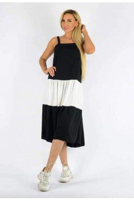 Divatos fekete fehér színkombinációból álló női nyári A vonalú pántos midi ruha