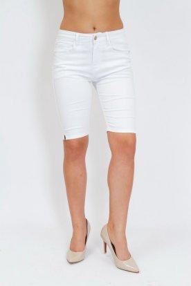 FIONINA divatos női nagy méretű vékony anyagú push up-os fehér rövidnadrág