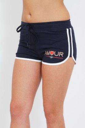 Divatos gumis derekú AMOUR felirattal díszített női pamut rövidnadrág
