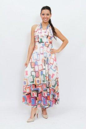 Gyönyörű absztrakt mintás maxi ruha többféleképpen variálható és szivacsos felsőrésszel