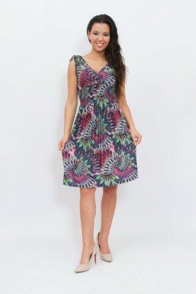 Gyönyörű felső részén átlapolt derék résznél gumis színes pávatoll mintás női nyári miniruha