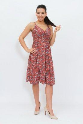 Divatos anyagában apró virágmintás mellrésznél átlapolt állítható spagetti pántos térdközépig érő nyári ruha