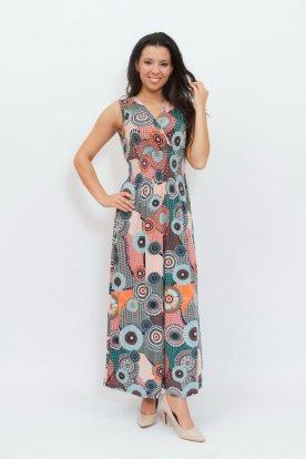 Stílusos színes egyedi mintával díszített átlapolt gumis derekú ujjatlan női maxi ruha