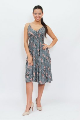 Divatos anyagában virágmintás mellrésznél átlapolt állítható spagetti pántos térdközépig érő nyári ruha