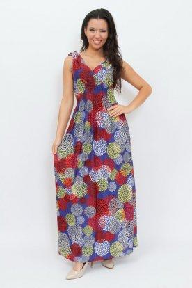 Divatos anyagában egyedi mintával díszített V kivágású derekán gumis női nyári maxiruha