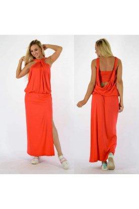 YESSTORY divatos hátán nyitott oldalt felsliccelt női egyszínű maxiruha