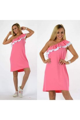 YESSTORY divatos fodros vállú bő szabású mini ruha
