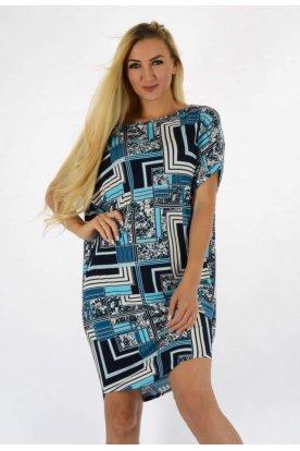 YESSTORY divatos absztrakt mintás rövid ujjas női bő szabású tunika/ mini ruha