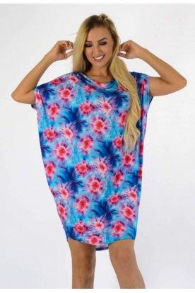 YESSTORY divatos egyedi mintázatú rövid ujjú női bő szabású tunika/ mini ruha