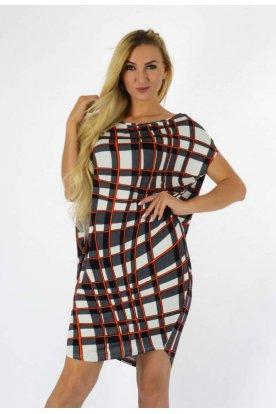 YESSTORY divatos anyagában egyedi mintázatú rövid ujjú női bő szabású tunika/ mini ruha