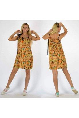 YESSTORY stílusos egyiptomi mintával díszített elöl kivágott spagetti pántos női miniruha