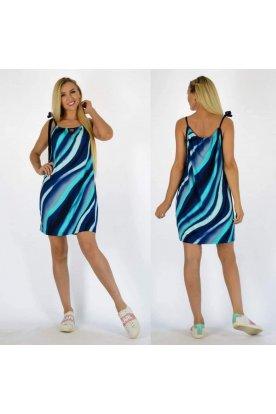 YESSTORY egyedi kék-fehér színes mintával díszített elöl kivágott spagetti pántos női miniruha