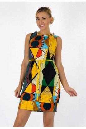 YESSTORY divatos nyakánál fodros derekán megköthető anyagában színes absztrakt mintás zsebes női ujjatlan miniruha/tunika