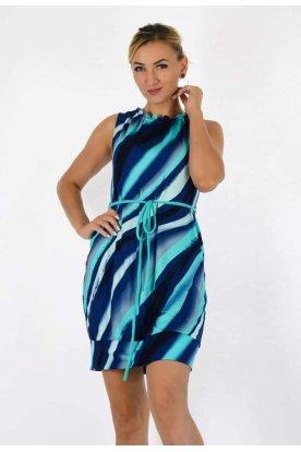 YESSTORY divatos nyakánál fodros derekán megköthető anyagában színes kék-fehér mintás zsebes női ujjatlan miniruha/tunika